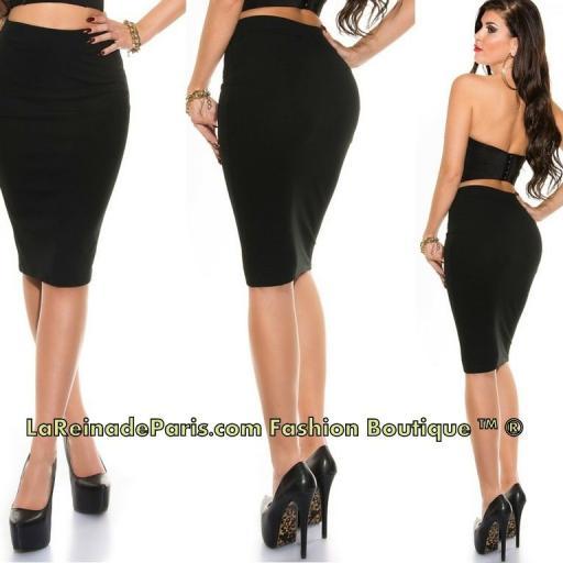 Falda negra lápiz talle alto de moda   [2]