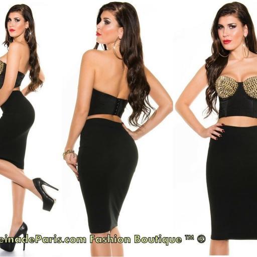 Falda negra lápiz talle alto de moda   [3]