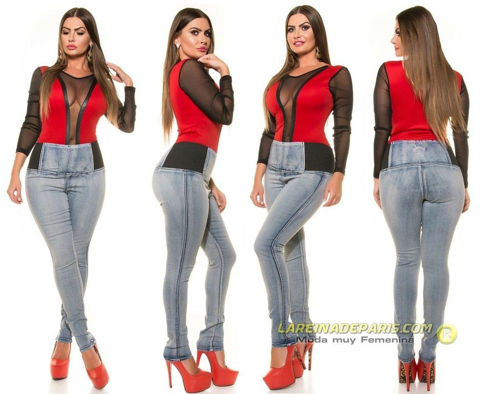 Vaqueros ajustados de moda cintura alta