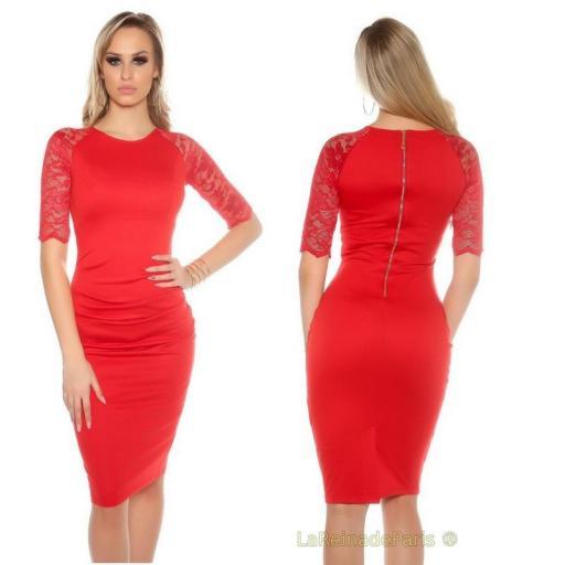 Vestido rojo ajustado con encaje [2]