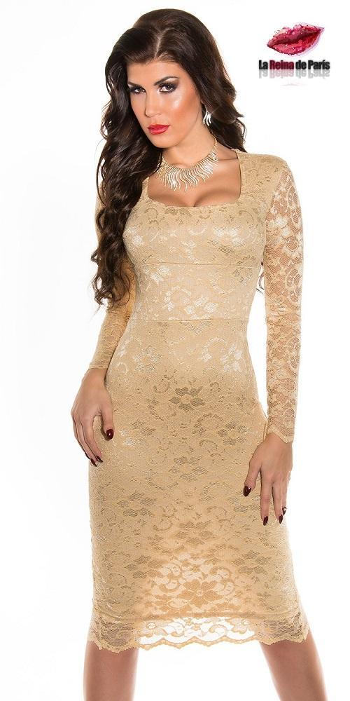 Vestido elegante champagne Taisha
