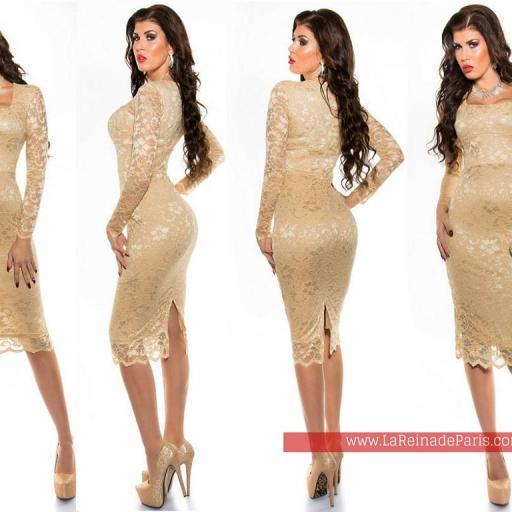 Vestido elegante champagne Taisha  [2]