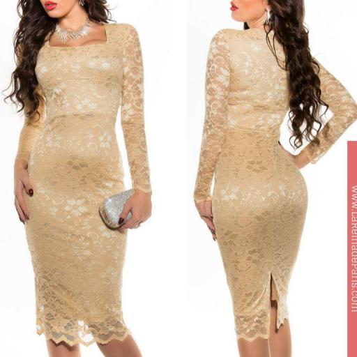 Vestido elegante champagne Taisha  [3]