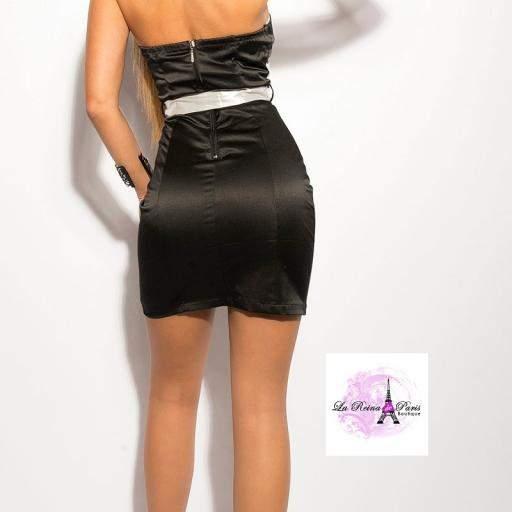 Vestido cóctel negro con encaje blanco [1]