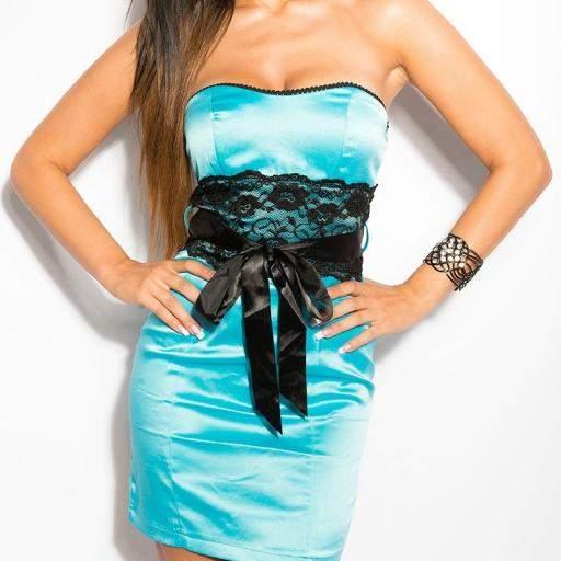 Vestido cóctel corto turquesa