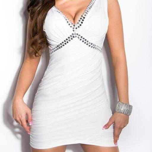 Vestido corto ajustado Delizzé blanco [1]