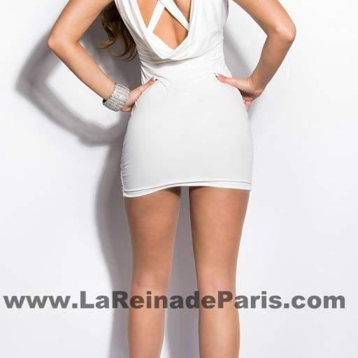 Vestido corto ajustado Delizzé blanco [2]