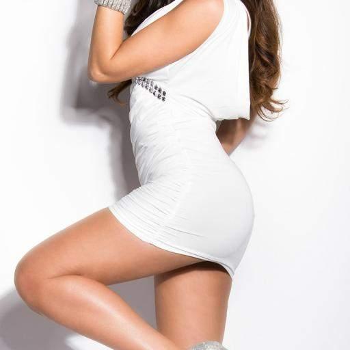 Vestido corto ajustado Delizzé blanco [3]