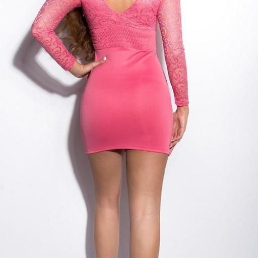 Vestido corto de encaje Sonya salmón [1]