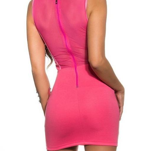 Vestido corto transparencias fucsia [2]
