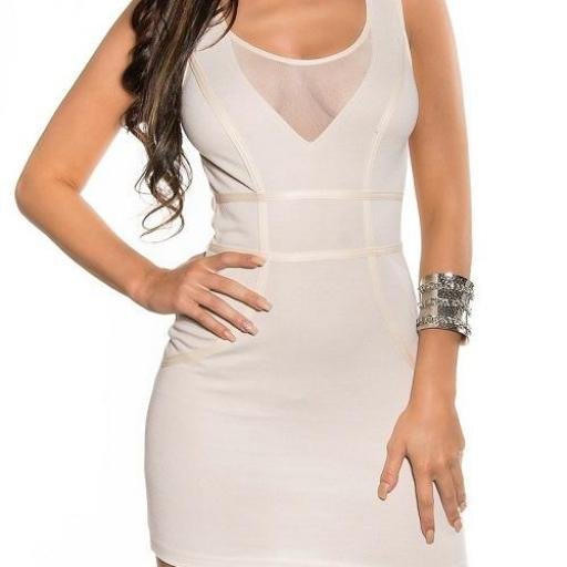Vestido corto beige transparencias [1]