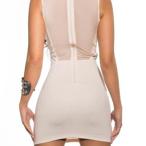 Vestido corto beige transparencias [2]