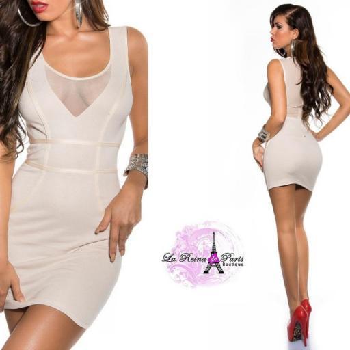 Vestido corto beige transparencias