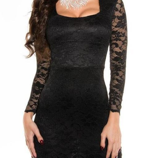 Vestido de encaje Taisha negro [1]
