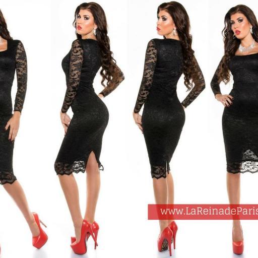 Vestido de encaje Taisha negro [3]
