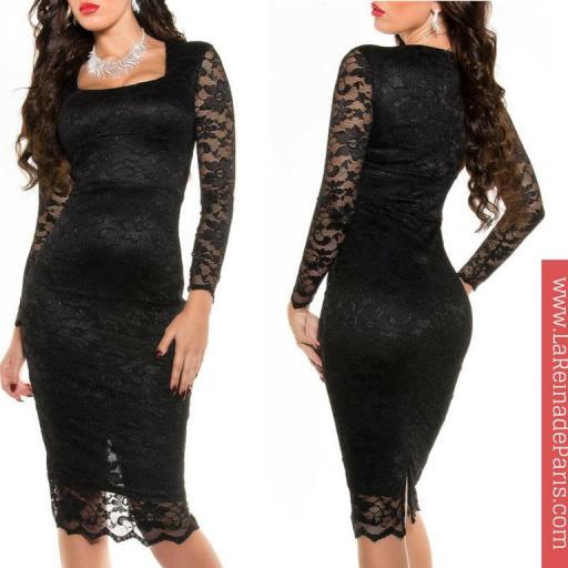 Vestido de encaje Taisha negro