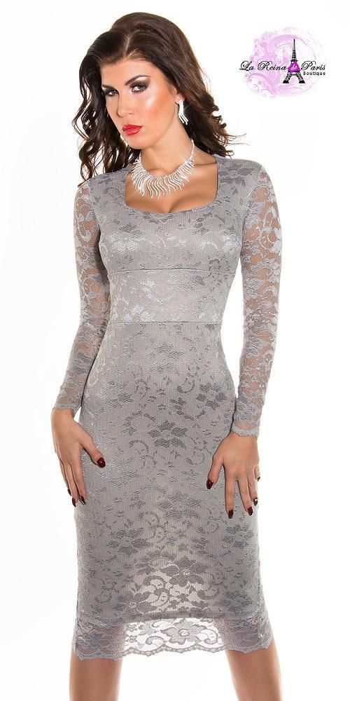 Vestidos de encaje impactante Taisha gris
