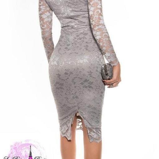 Vestidos de encaje impactante Taisha gris [1]