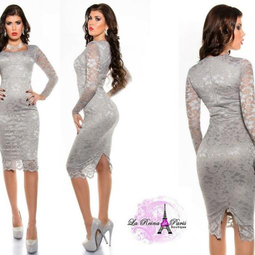 Vestidos de encaje impactante Taisha gris [2]
