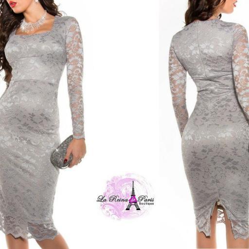 Vestidos de encaje impactante Taisha gris [3]