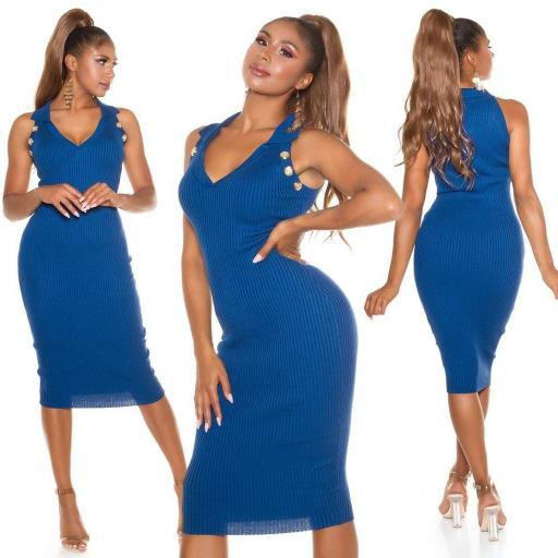 Vestido de punto ajustado azul