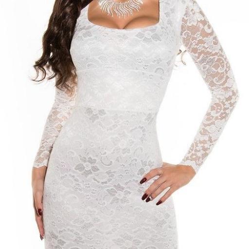 Vestido que atesora elegancia blanco [1]
