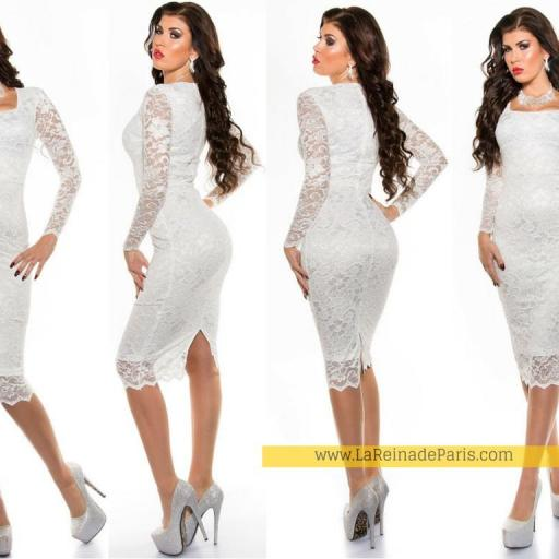 Vestido que atesora elegancia blanco [3]