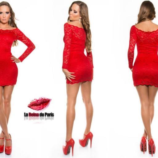 Vestido elegante rojo de encaje Mazzone [2]