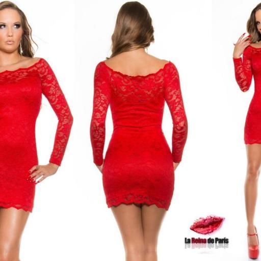 Vestido elegante rojo de encaje Mazzone [3]