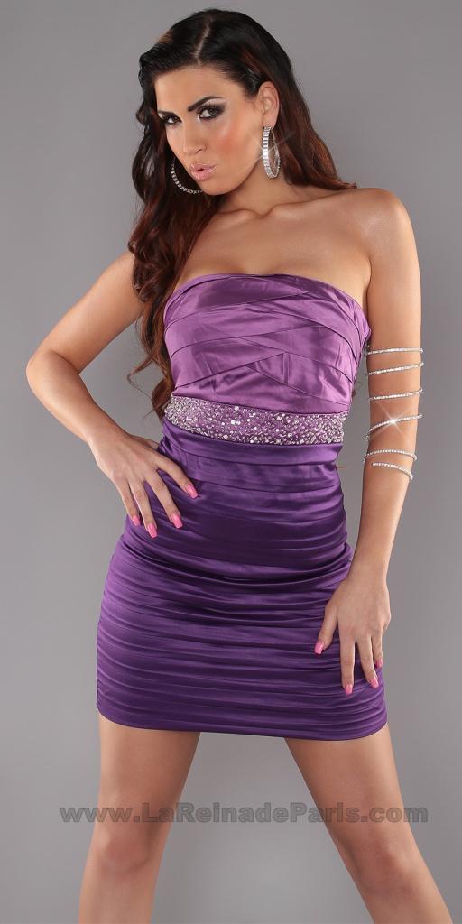 Vestido entallado con brillantes Púrpura
