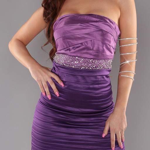 Vestido entallado con brillantes Púrpura [0]