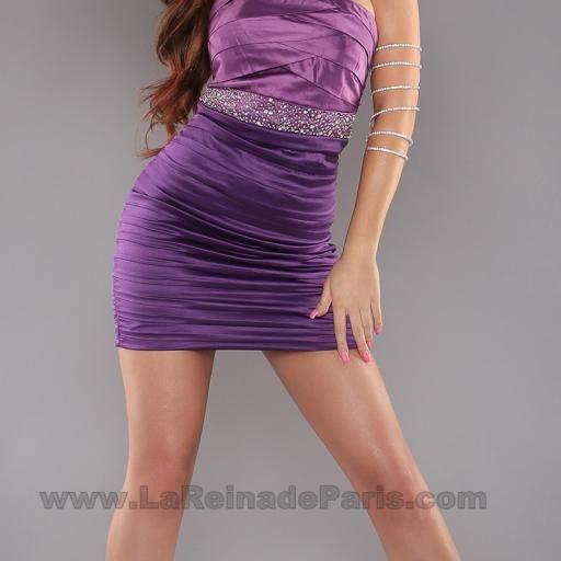 Vestido entallado con brillantes Púrpura [2]