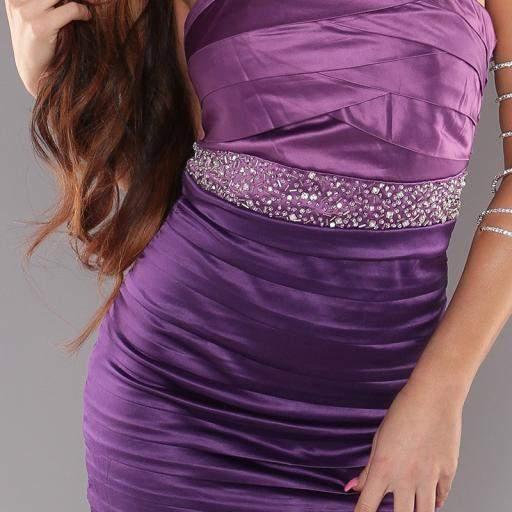 Vestido entallado con brillantes Púrpura [3]