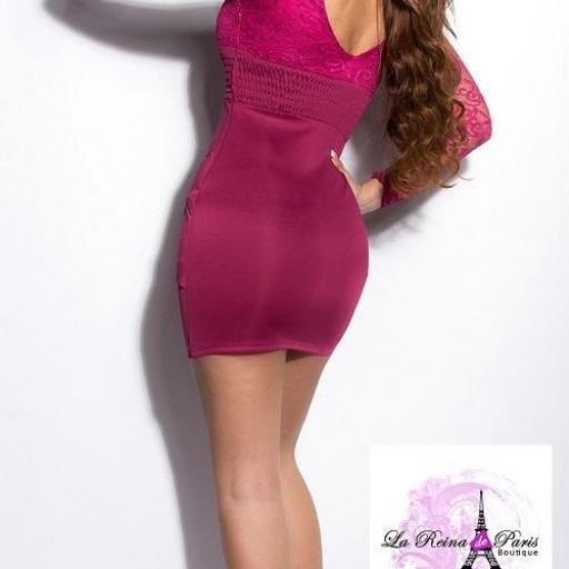 Vestido corto de encaje sonya rosa  [2]