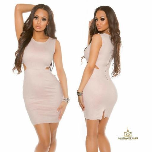 Vestido ajustado efecto ante rosa
