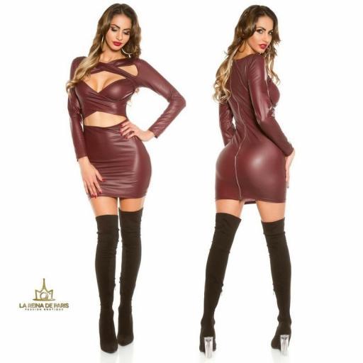 Mini vestido efecto cuero burdeos [1]