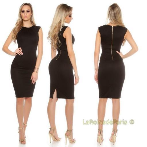 Vestido negro pincel con plises