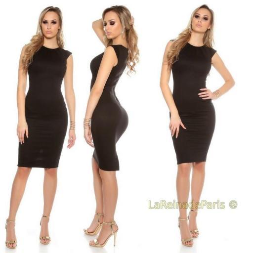 Vestido negro pincel con plises  [1]