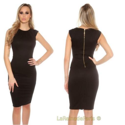 Vestido negro pincel con plises  [2]