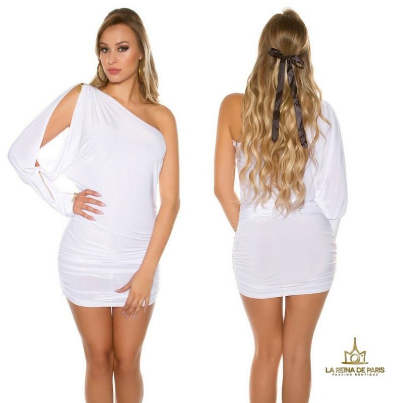 Vestido asimétrico blanco elegante