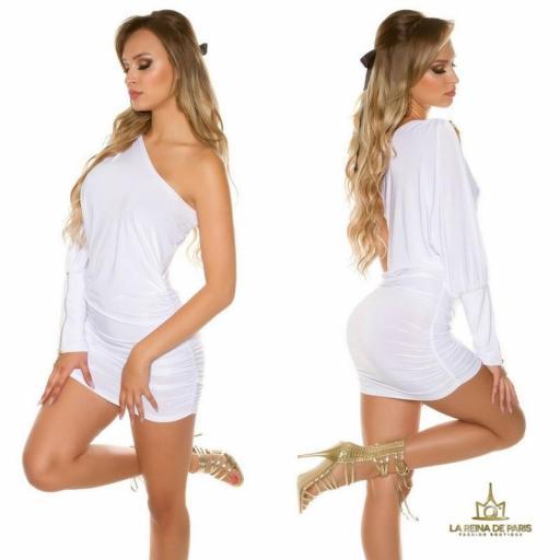 Vestido asimétrico blanco elegante [1]