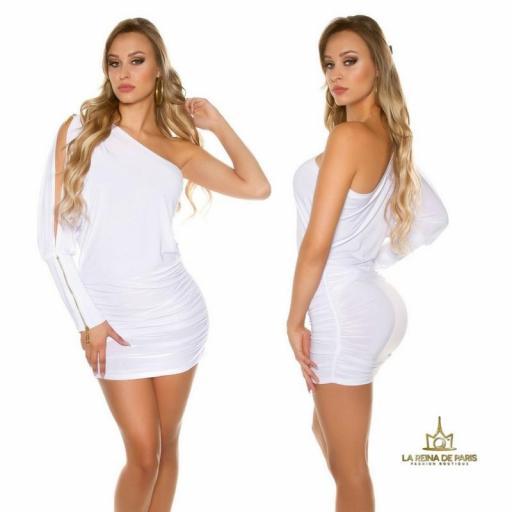 Vestido asimétrico blanco elegante [2]