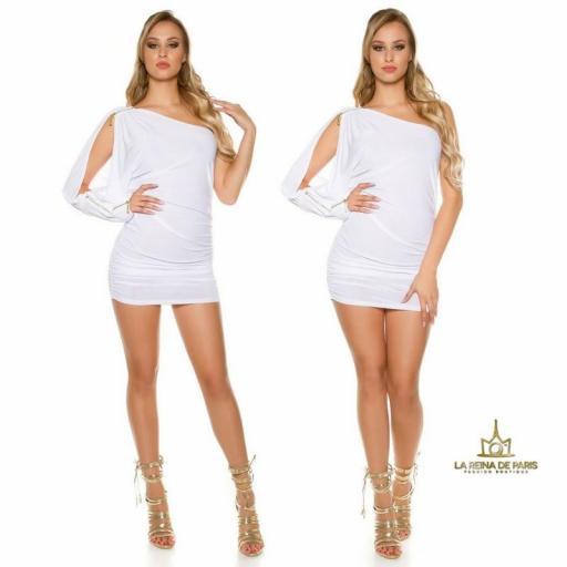 Vestido asimétrico blanco elegante [3]