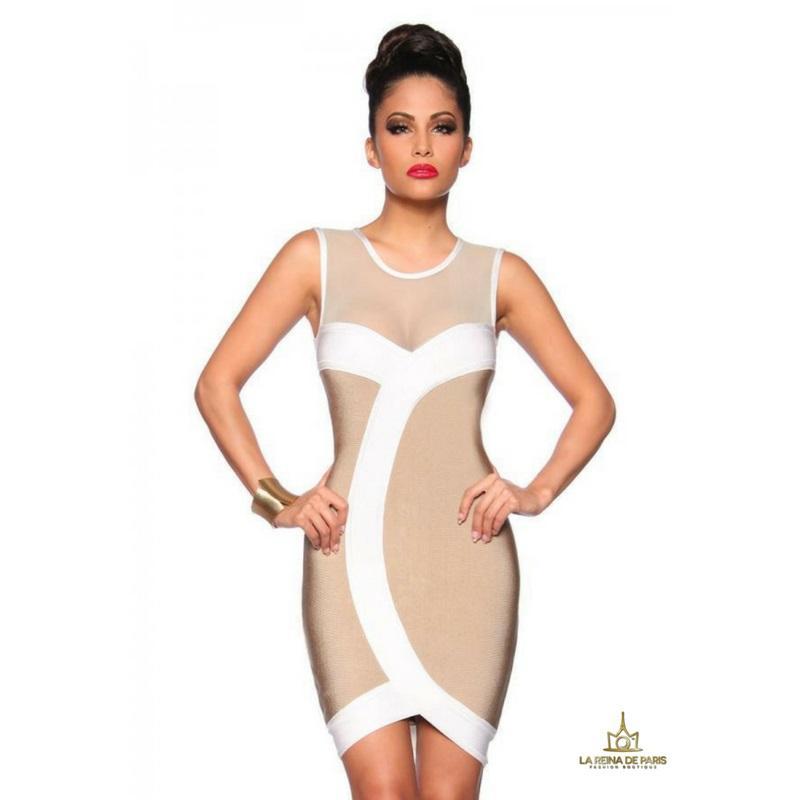 Vestido bandage blanco beige