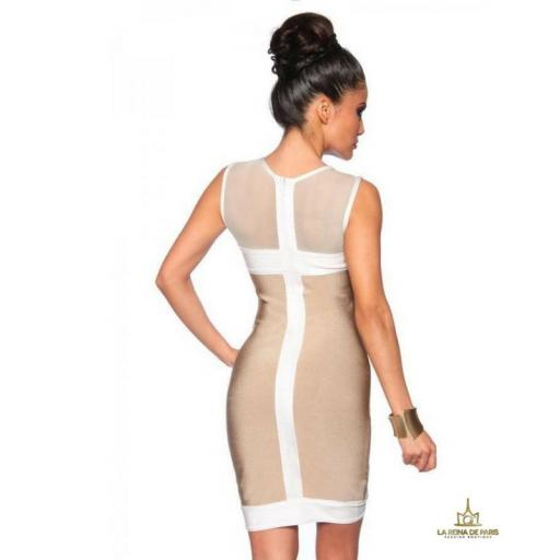 Vestido bandage blanco beige [1]
