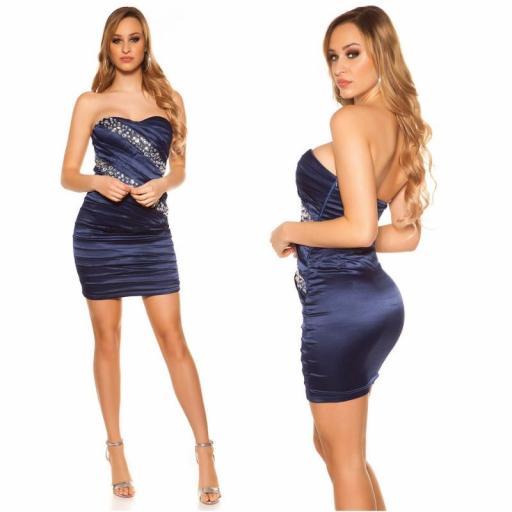 Vestido sedoso azul y brillo  [1]