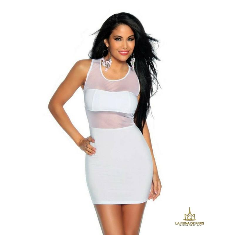 Mini vestido blanco de fiesta cileni