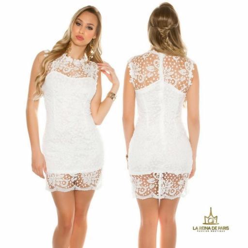 Vestido blanco encaje chic [0]