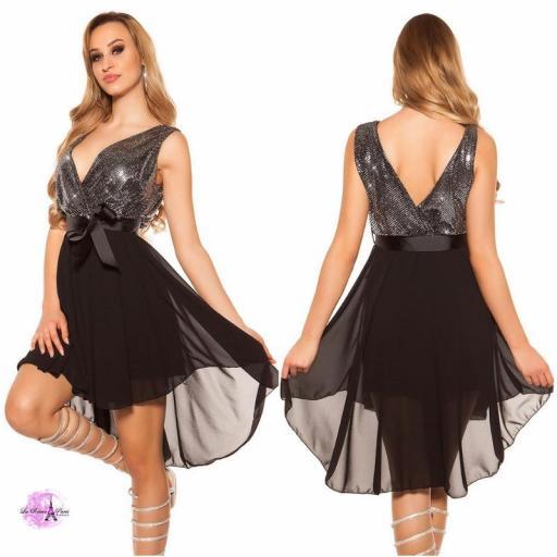 Vestido corto glitter LQ silver [2]