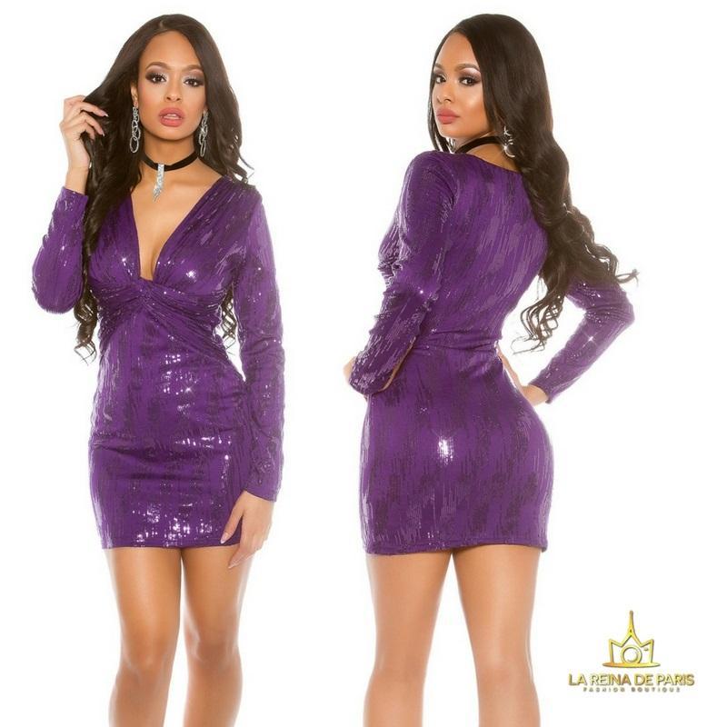 Mini vestido de noche purpura brillante